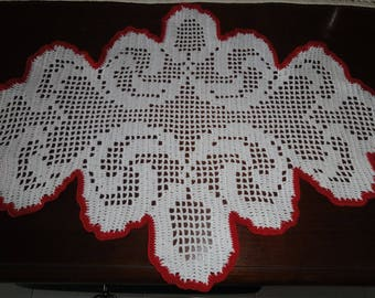 DOILY oval ORIGINAL created with the cotton white and outline Fuchsia 44 x 33 CM new