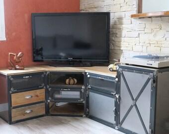 Industrial furniture door corner tv steel drawer wood