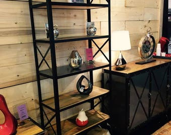 Industrial style steel and solid pine bookcase