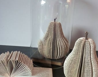 Sculpture book, PEAR cut from old books, book art, papercut