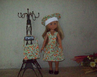 clothes for dolls of 32/33 cm (dress, beret, bag) printed floral, Brown and beige liberty style