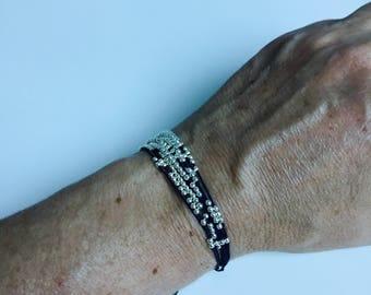 Navy bracelet multi strand blue beads