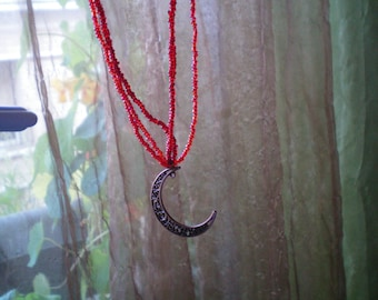 Red Moon beaded necklace