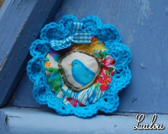 "Textile brooch ""my beautiful Blue Bird"""