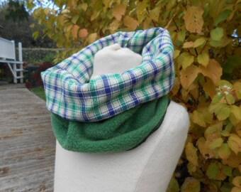snood neck tube child fleece green neck warmer scarf cotton