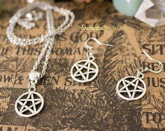 Finery pentacle / Pentagram necklace and earrings stainless steel