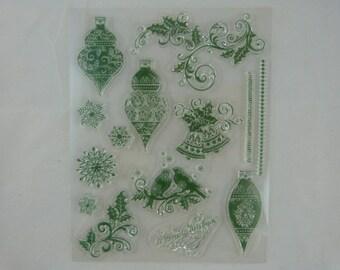 Stamp set transparent Christmas motif, decorations