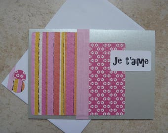 """Card """"I love you"""" pink and gray"""