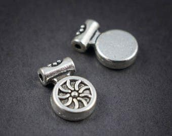 2 pcs - metal • 10mm x 7mm round tube charms