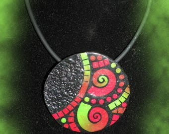 Mosaic necklace with polymer clay mounted on cord