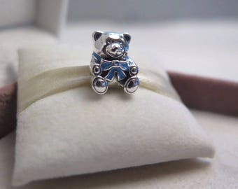 Genuine Pandora Silver and Blue Teddy Bear Charm 791124EN41