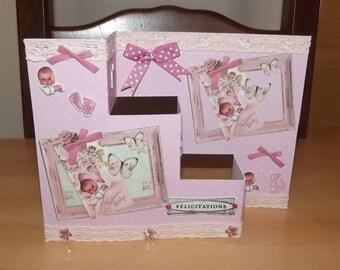 Folding 3D rose card, handmade.