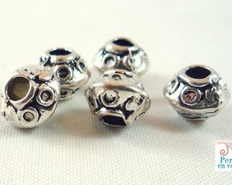 20 spacer beads in silver hole 2mm 5x7mm (PM87)
