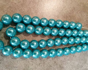 10 mm/10 glass Pearl 10 mm turquoise beads