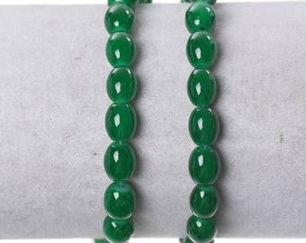 Green 8 oval glass beads 10 x 6 mm