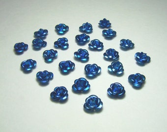 Set of 25 metal flowers, blue beads, 7 mm.