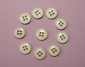 Set of 10 round buttons, 11.5 mm synthetic, ecru, 4 holes.