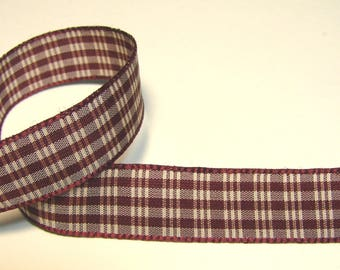 Plaid Ribbon, 15 mm, Burgundy, white, edging, sold by the yard.