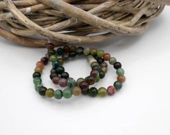 10 pearls gemstones round 6 mm Brown/green/natural tones
