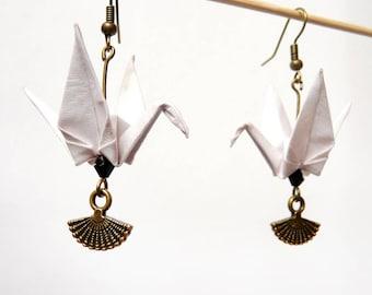 Origami crane earring white