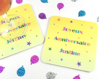 Customizable name happy birthday table decoration personalized coasters
