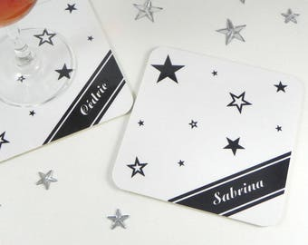Star coasters personalized coaster original name place card