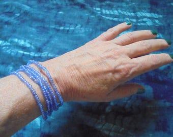 10% off multi-strand blue czech beaded bracelet