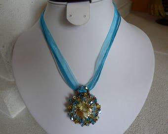 Daffodil and turquoise Swarovski Crystal pendant