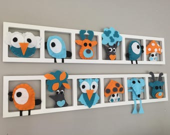 Wall frame for decoration of the original nursery - figurines in felt turquoise blue and yellow or orange-customizable.