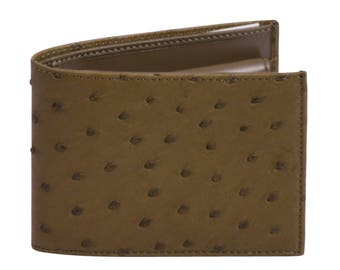 Ostrich leather wallet Muschio Green by Beretti