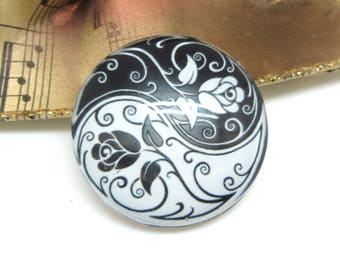 1 cabochon 30 mm glass Yin Yang Roses white and black 1-30 mm
