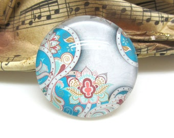 1 cabochon 25 mm glass floral Paisley 2-25 mm