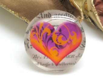 2 cabochons 20 mm glass heart Vintage purple and Orange - 20 mm
