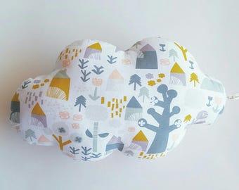 Pink printed cotton cloud cabin pillow