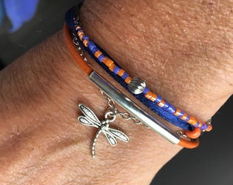 Bracelet MULTISTRAND beads Orange and purple & dragonfly