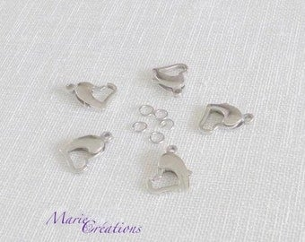 Heart clasps / 13 X 11 - stainless steel carabiners