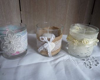 Small glass wedding candle