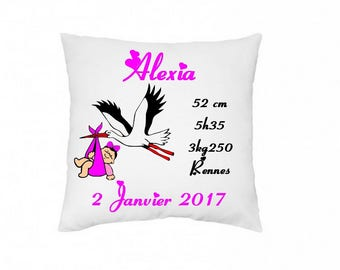 Personalized birth pillow with drawing and text