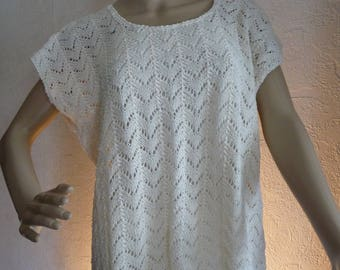 Spring, T38/40, sleeveless tunic, mesh fancy - handmade knit, cotton white off-
