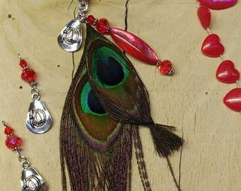 Set of charms and sterling silver with these Peacock feather and glass beads, Crystal and metal