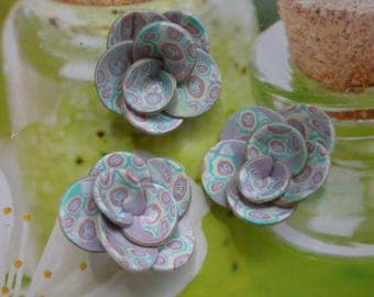 """FLOWERS """"PURPLE AND PASTEL"""" POLYMER CLAY CREATION, RINGS, DECO, ACCESSORIES..."""