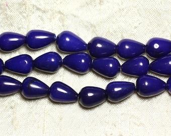 1 strand 39cm stone beads - Jade drops 14x10mm blue night
