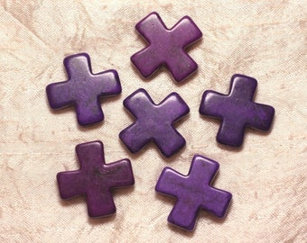 2PC - cross 30mm purple 4558550029485 synthetic Turquoise beads