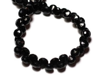 1pc - bead - black spinel drop faceted 6 mm - 8741140008809