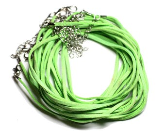 5pc - cou 45cm Apple green suede 2x1mm towers necklaces - 4558550016232