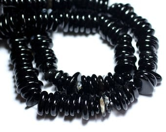 10pc - beads of stone - Onyx Black rondelle beads 10-15mm - 8741140008304 Chips