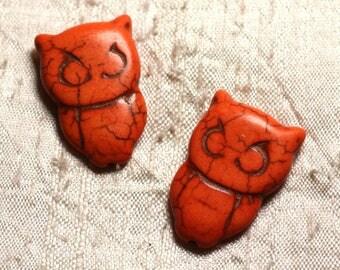 4pc - beads Turquoise synthetic OWL OWL Orange 4558550010025 30x20mm
