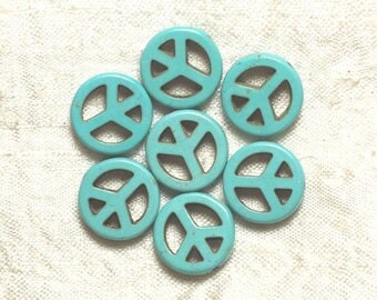 10pc - beads Turquoise synthetic Peace and Love turquoise 15 mm 4558550033215
