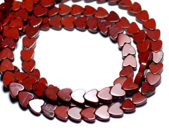 10pc - stone beads - Jasper red hearts 6mm - 8741140007772