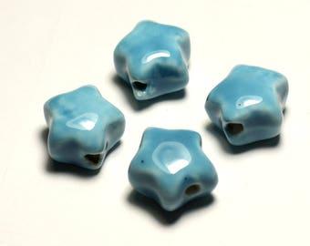 4pc - 16mm blue Turquoise - 8741140017368 stars porcelain ceramic beads